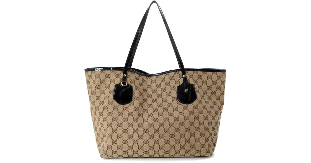 8d24564151b Lyst - Gucci Canvas Tote Bag - Vintage in Natural