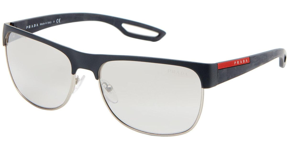 243bea32714a ... czech lyst prada sport sps 57q grey silver tone rectangle half rim  sunglasses in gray for