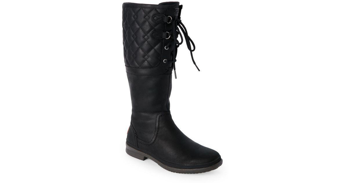 b2e9971d366 Ugg Black Elsa Deco Quilt Waterproof Boots