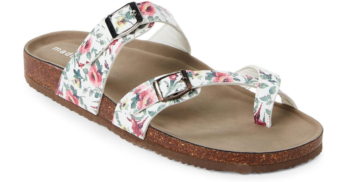 b16e97e722fb Lyst - Madden Girl White   Pink Bryceee Floral Footbed Sandals
