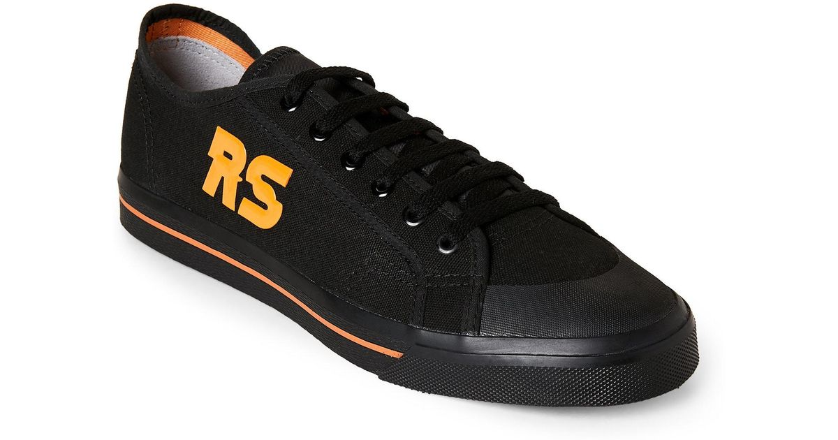 e69e714d08f35 Adidas By Raf Simons Black & Orange Spirit Canvas Low Top Sneakers for men
