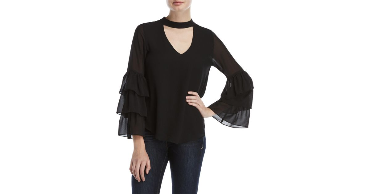 90b16cfb0a29f Lyst - Naked Zebra Choker Neck Tiered Sleeve Top in Black