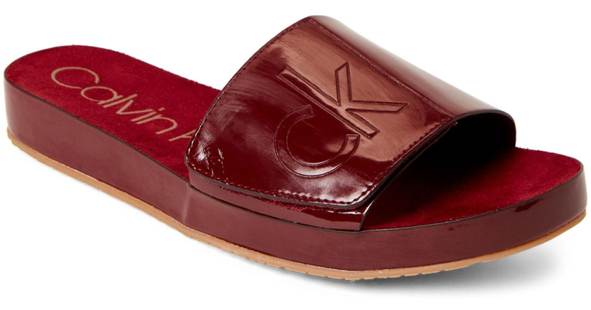 fa9da65a6d524 Calvin Klein Cherry Red Marlina Patent Slide Sandals