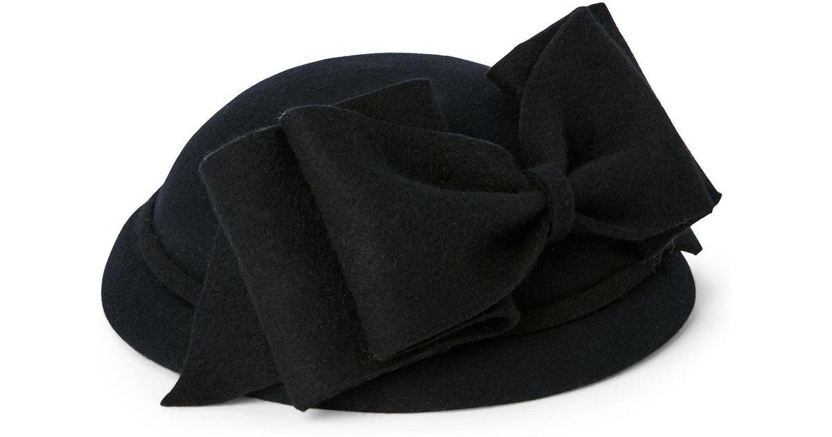3babb7c0e5c Lyst - Kathy Jeanne Navy Wool Felt Disc Bow Hat in Black