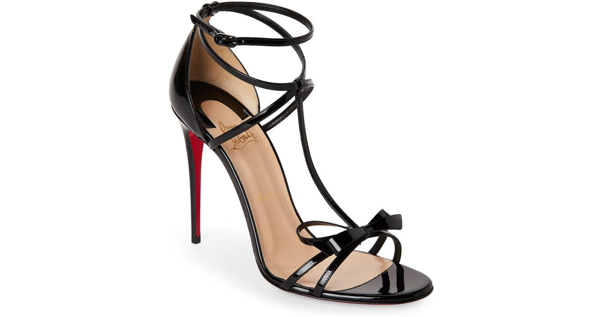 huge discount bf2b6 5f987 Christian Louboutin Black Blakissima Strappy Bow Sandals