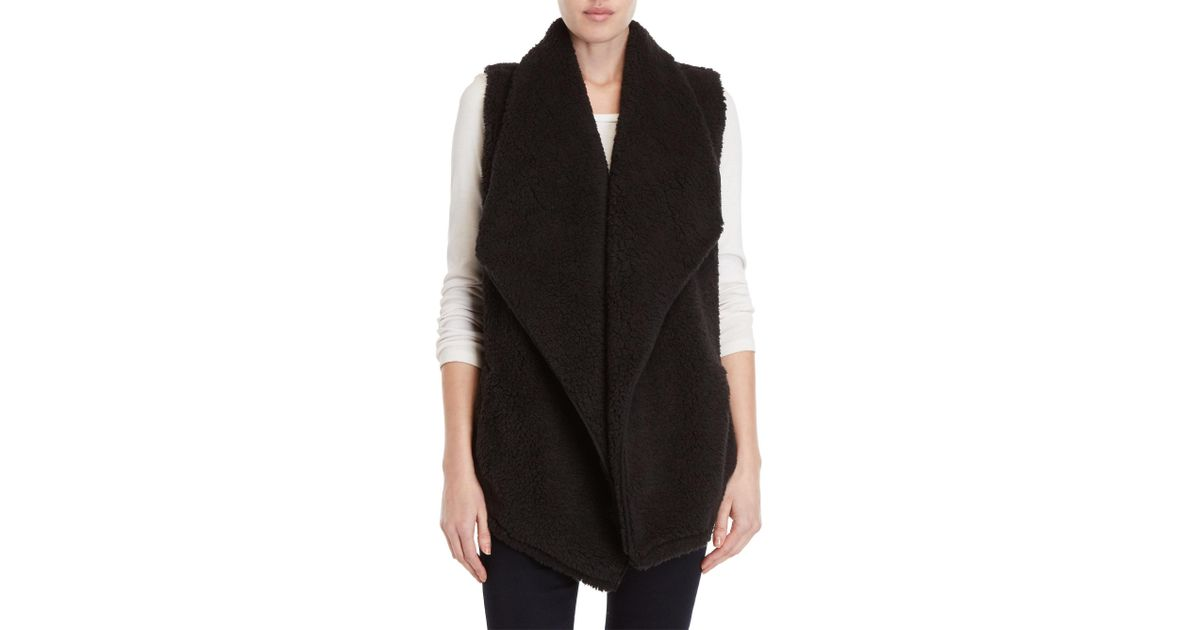615ca05e0589f4 Lyst - Kensie Black Sherpa Waterfall Vest in Black
