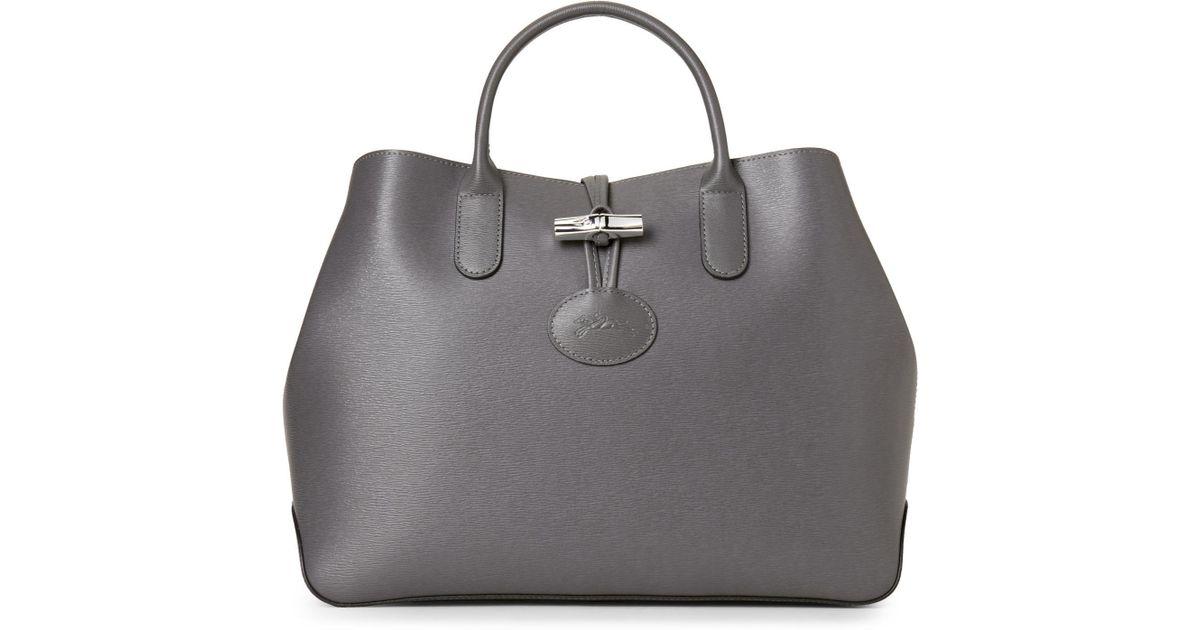 Lyst - Longchamp Grey Roseau Tote in Gray 289c6b0aa27ec