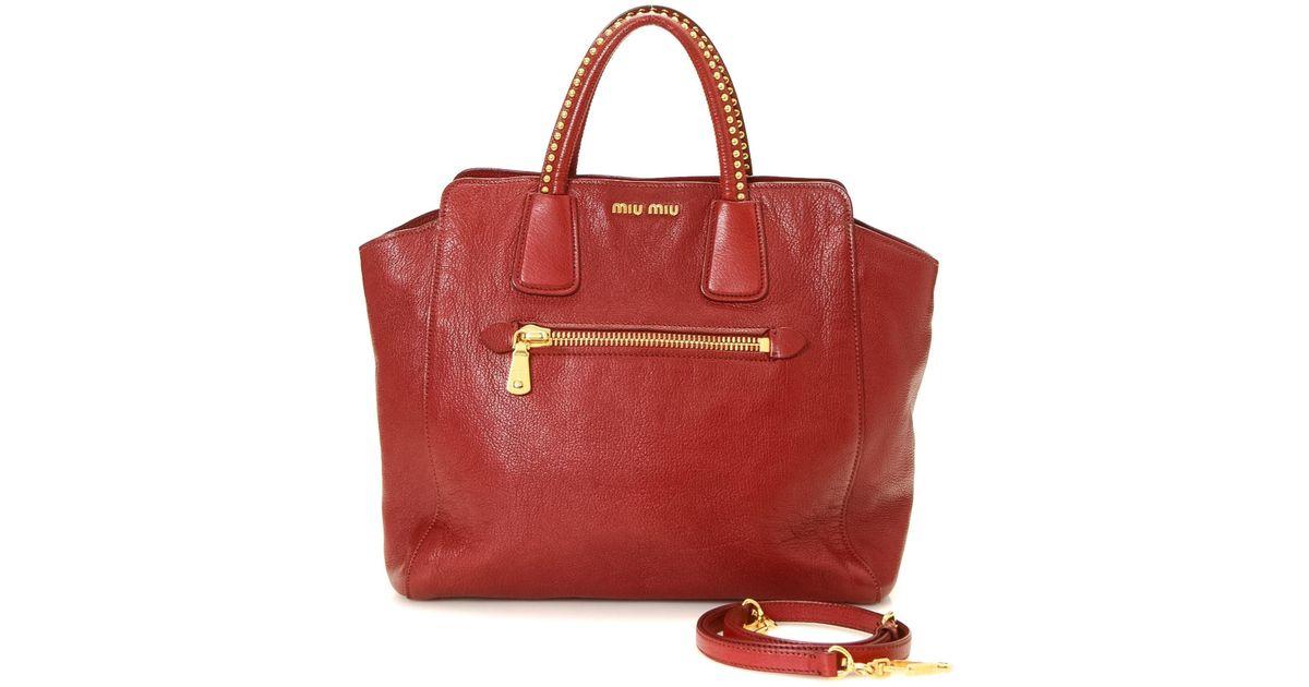 0768854c2e99 Lyst - Miu Miu Vitello Caribu Leather Tote - Vintage in Red