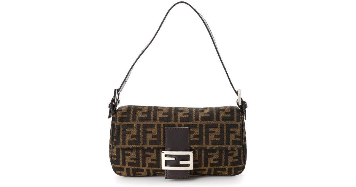 470e0260402 Lyst - Fendi Zucca Baguette Shoulder Bag - Vintage in Brown