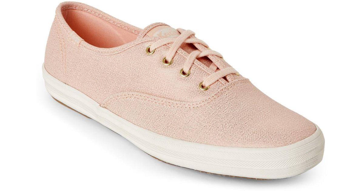 66eda51fd16b Lyst - Keds Rose Gold Champion Metallic Sneakers in Pink