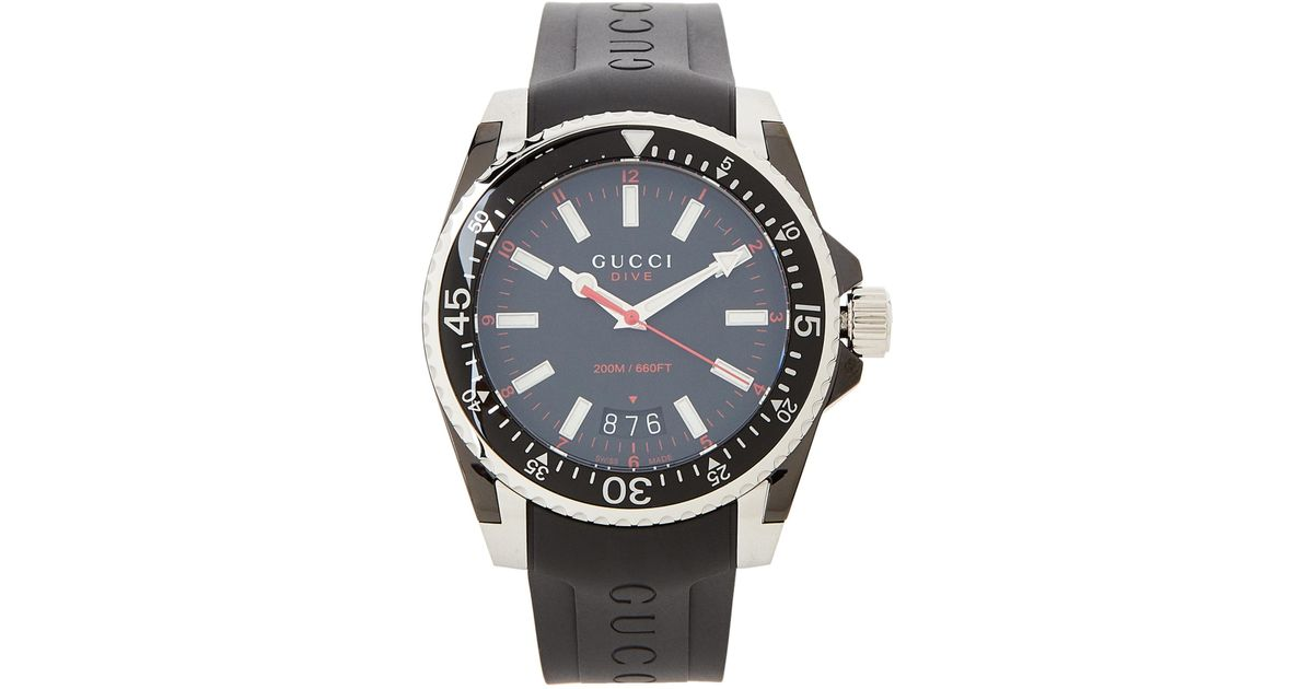 47ee04f8260 Lyst - Gucci Ya136303 Dive Black Rubber Band Watch in Black for Men