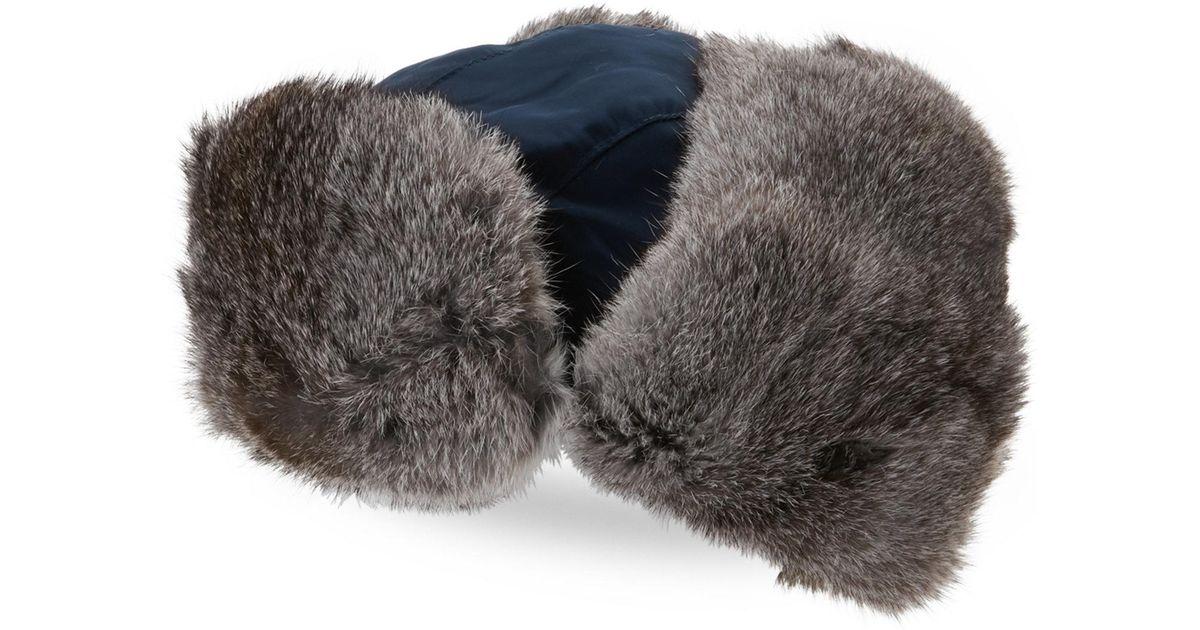 1efb2fb69279d Lyst - Crown Cap Real Rabbit Fur Lined Bomber Hat in Gray for Men