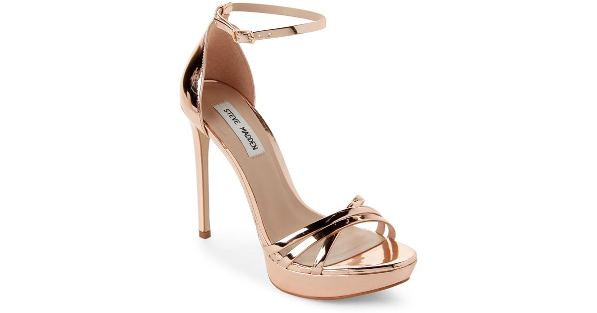 507972ce090b Lyst - Steve Madden Rose Gold Cassandra Metallic Strappy Platform Sandals  in Metallic