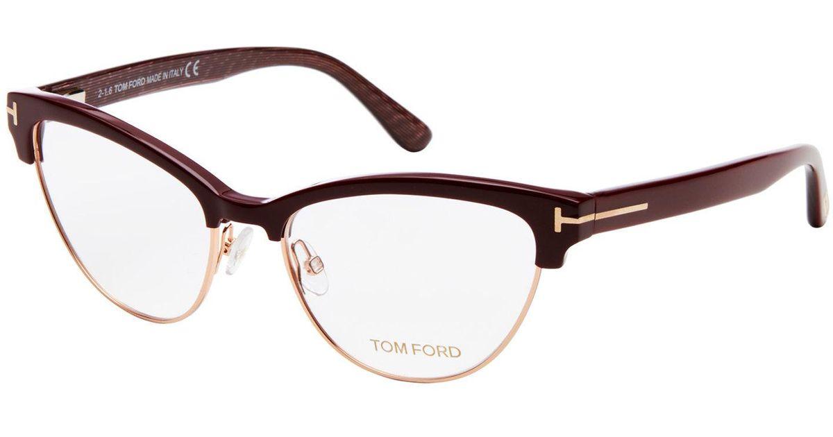 fd3d5d2929 Tom Ford Tf5365 Burgundy Semi-rimless Cat Eye Optical Frames in Brown - Lyst