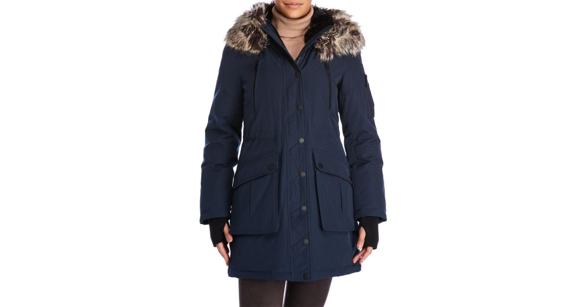 Bcbgeneration Faux Fur Trim Hooded Parka in Blue | Lyst