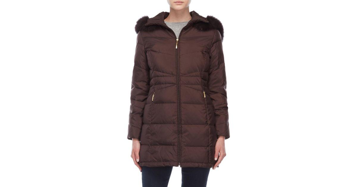 826217c33c5 Ellen Tracy Brown Petite Hooded Down Coat With Real Fur Trim