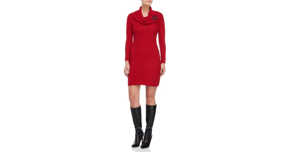 acc07281690 Sandra Darren Petite Cowl Neck Cable Knit Sweater Dress in Red - Lyst