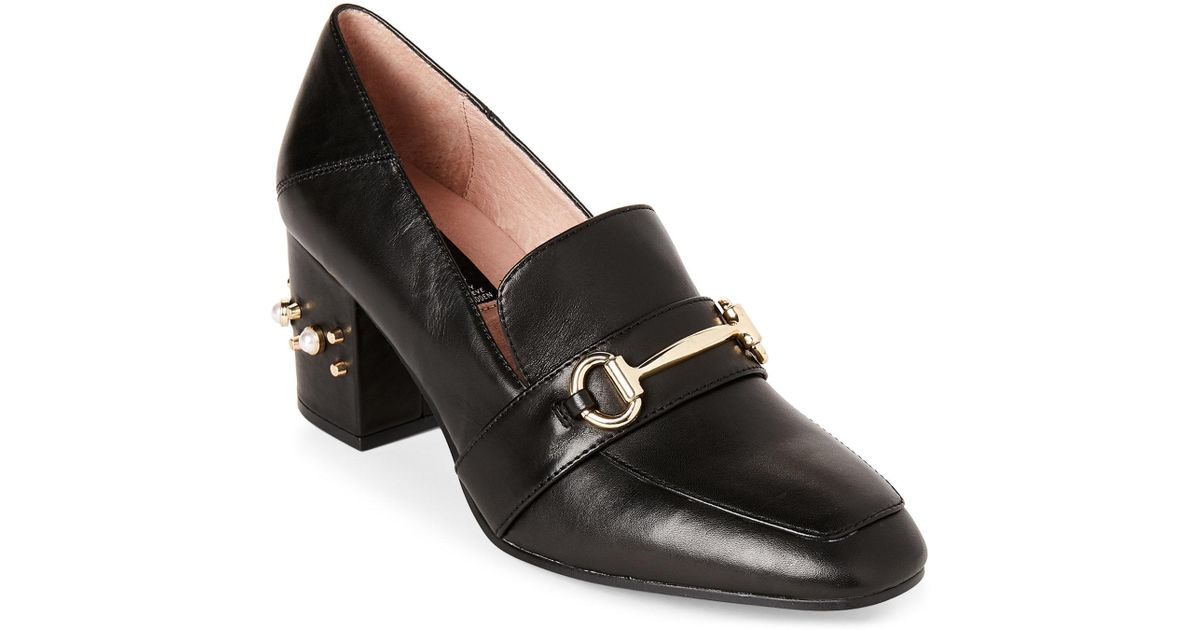 aa17d4b5144 Lyst - Steven by Steve Madden Black Layla Embellished Heel Loafers in Black
