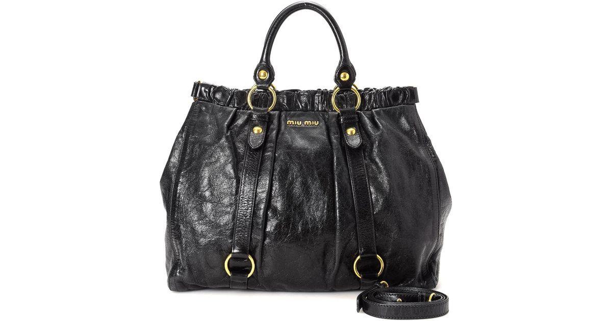 8476cbd2694337 Miu Miu Vitello Lux Gathered Handbag - Vintage in Black - Lyst