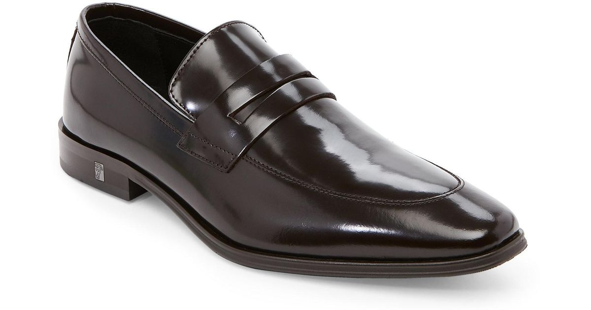 a915466b1a8 Lyst - Versace Black Apron-Toe Penny Loafers in Brown for Men