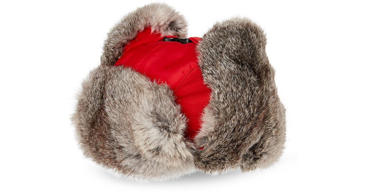 5b353b1485f1c Lyst - Crown Cap Real Rabbit Fur Lined Bomber Hat in Red for Men