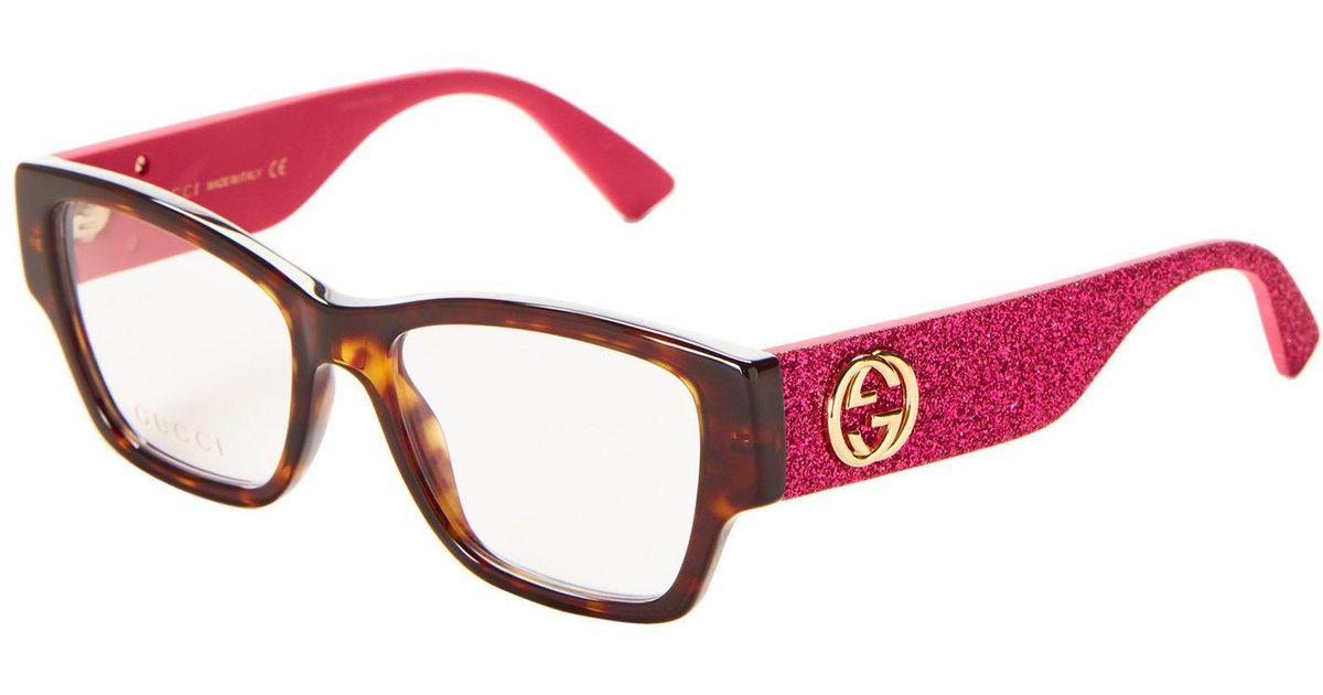 Lyst - Gucci Gg 0104o Black & Glitter Cat-eye Optical Frames