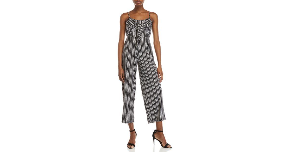 061e6d56d866 Lyst - Derek Heart Stripe Self-tie Jumpsuit in Black