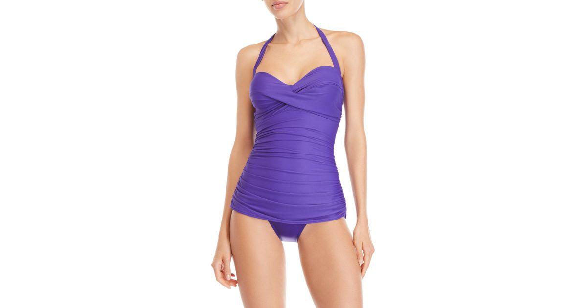 0962e4832d792 Lyst - Miraclesuit Purple Caitlin Halter Neck One-piece Swimsuit in Purple