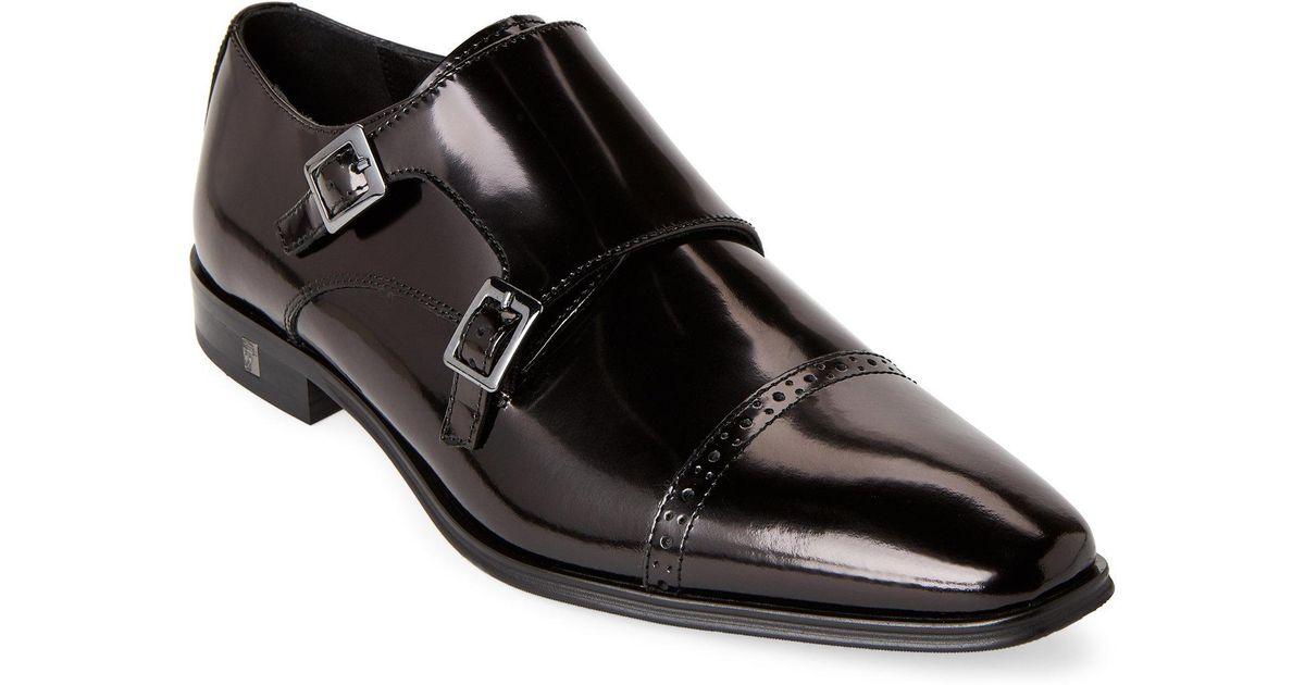 87b3122378c Lyst - Versace Black Spazzolato Leather Cap Toe Monk Strap Shoes in Black  for Men