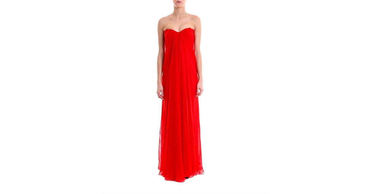 Lyst - Alexander Mcqueen Draped Strapless Evening Gown in Red