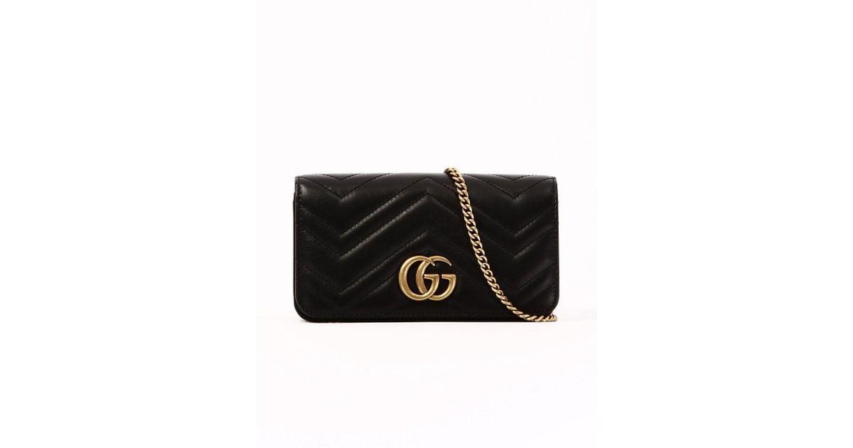 52a9bc8c72c5 Lyst - Gucci Gg Marmont Clutch Bag in Black