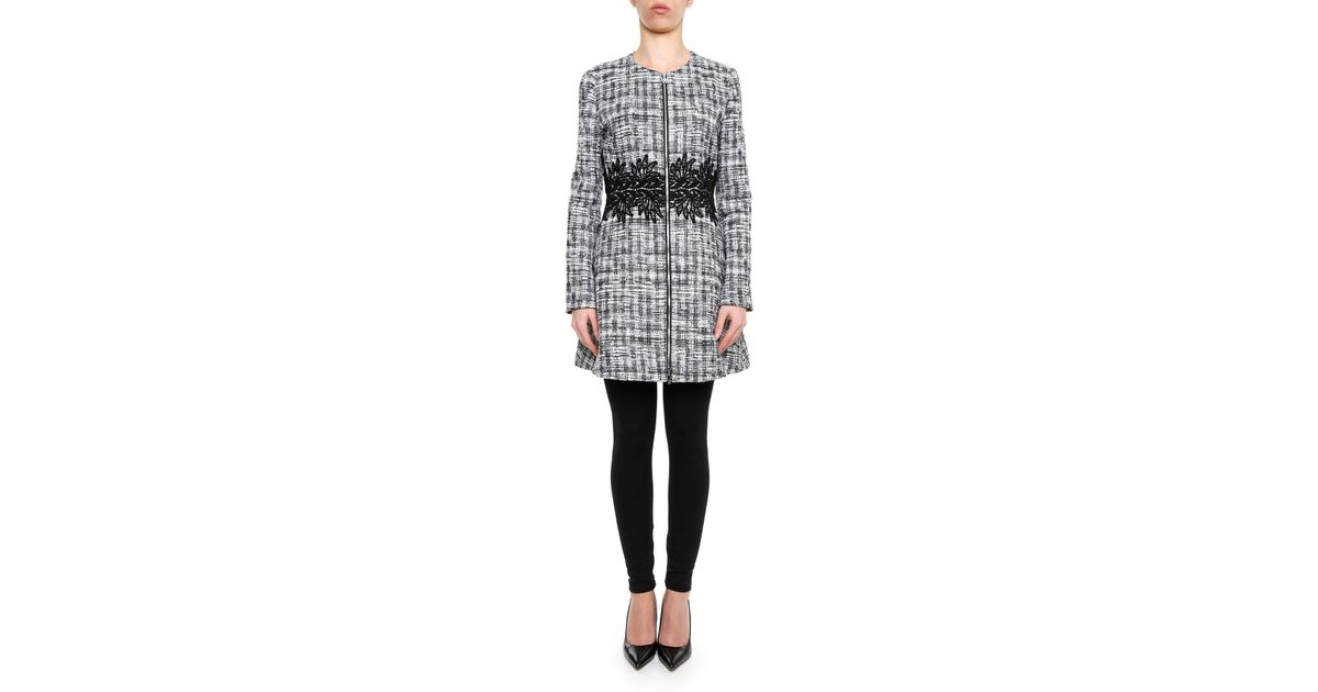 4e642415c293 Moncler Gamme Rouge Embroidered Waist Tweed Coat in Gray - Lyst