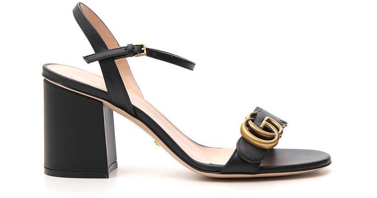 d64a755db Lyst - Gucci GG Ankle Strap Sandals in Black