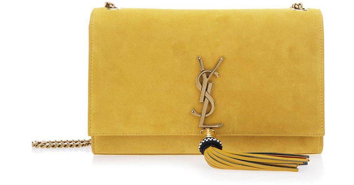 Lyst - Saint Laurent Medium Kate Monogram Shoulder Bag in Yellow 4fc9c2fa8668b
