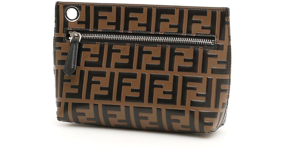 7925d479481a Fendi Ff Logo Clutch Bag - Lyst
