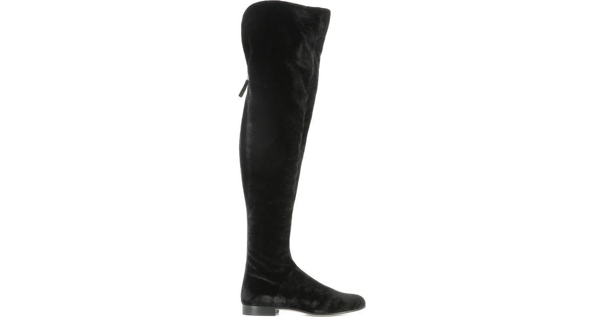 df7e5435bab Lyst - Alberta Ferretti Velvet Above-knee Boots in Black