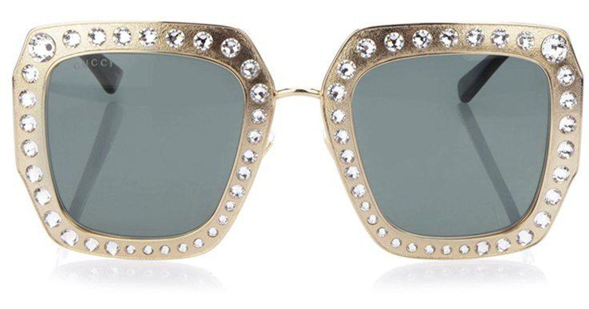 7c11e97aba9 Lyst - Gucci Embellished Sunglasses in Metallic