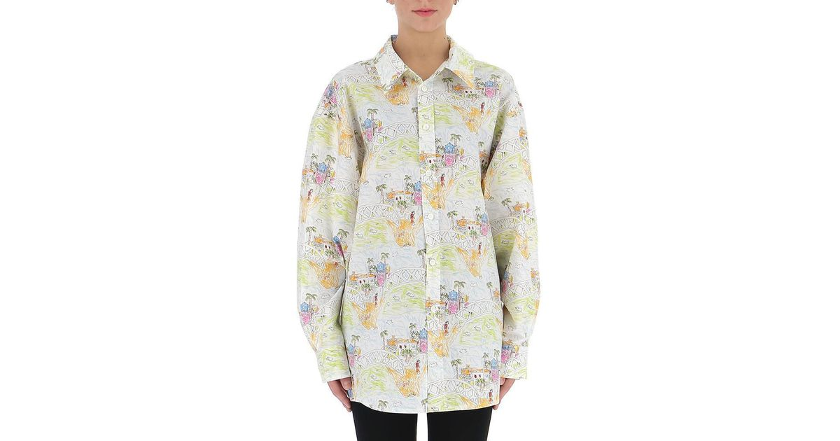 3a9a4de117a74f Lyst - Marni Oversized Tropical Print Shirt