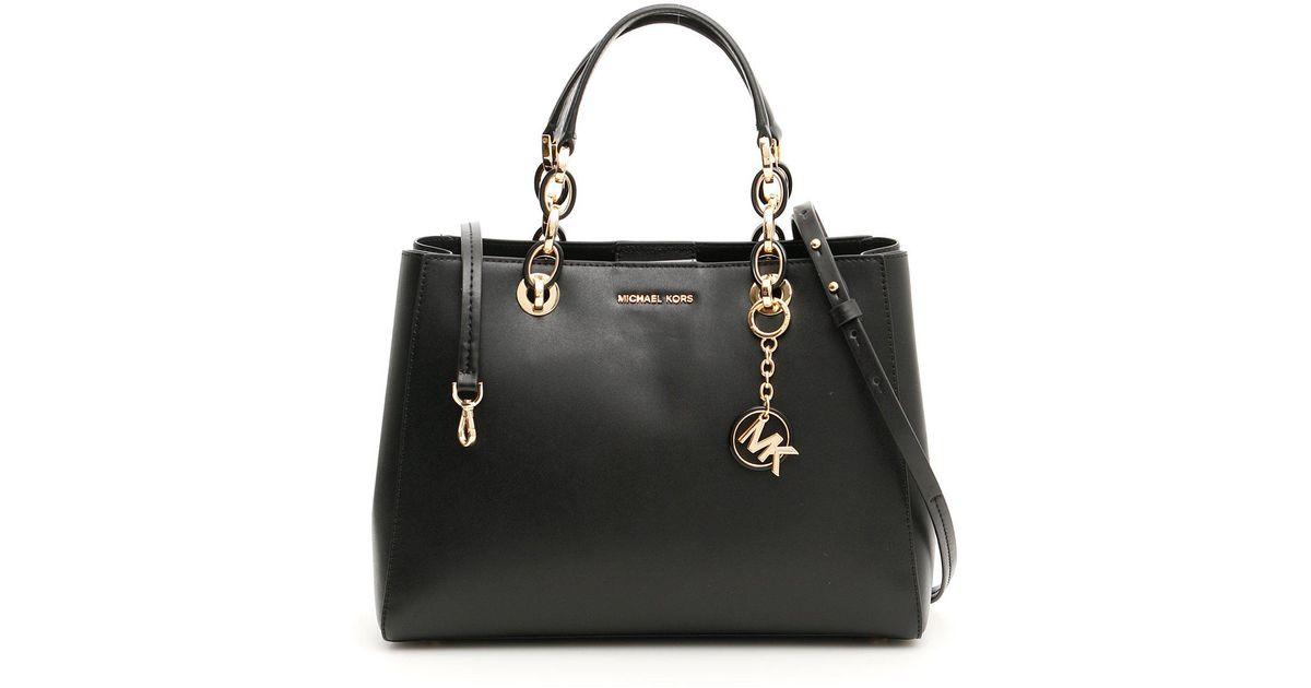 41f9cfced467c9 Lyst - MICHAEL Michael Kors Cynthia Tote Bag in Black
