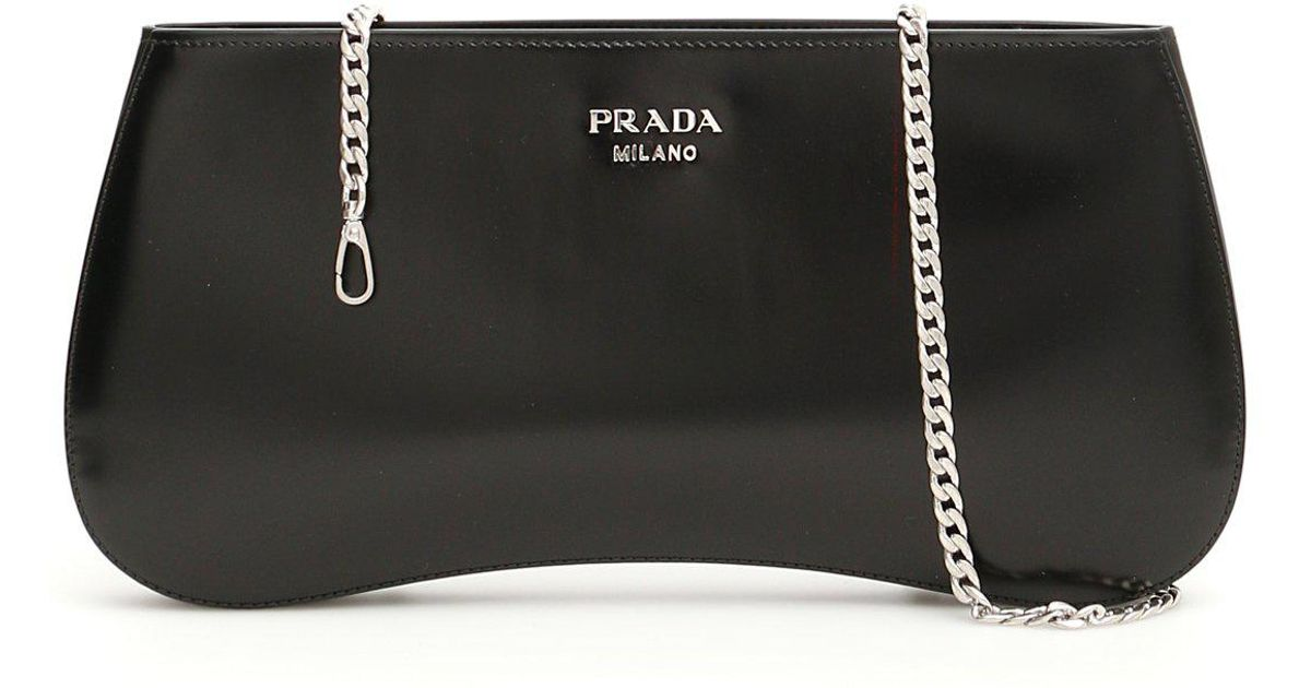 d0e4bc084a53 Prada Brushed Chain Strap Clutch Bag in Black - Lyst
