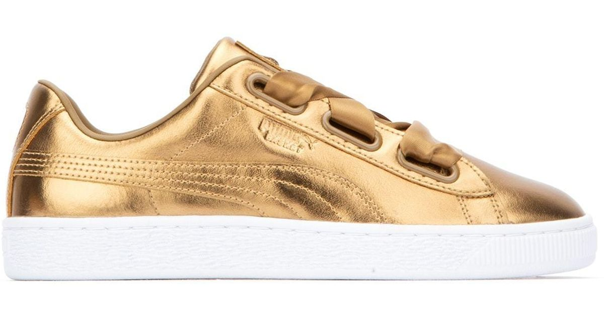 PUMA Leather Metallic Ribbon-laced Sneakers - Lyst