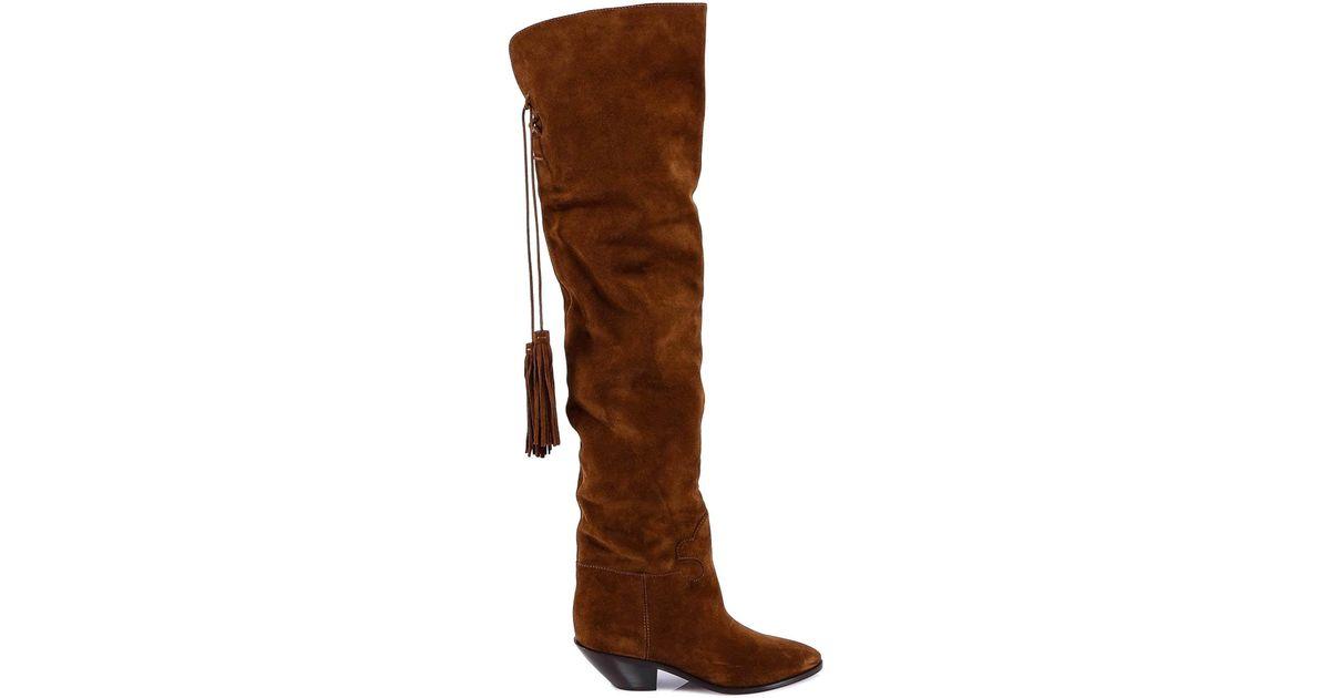 43a25274461 Saint Laurent High Knee Tassel Boots in Brown - Lyst