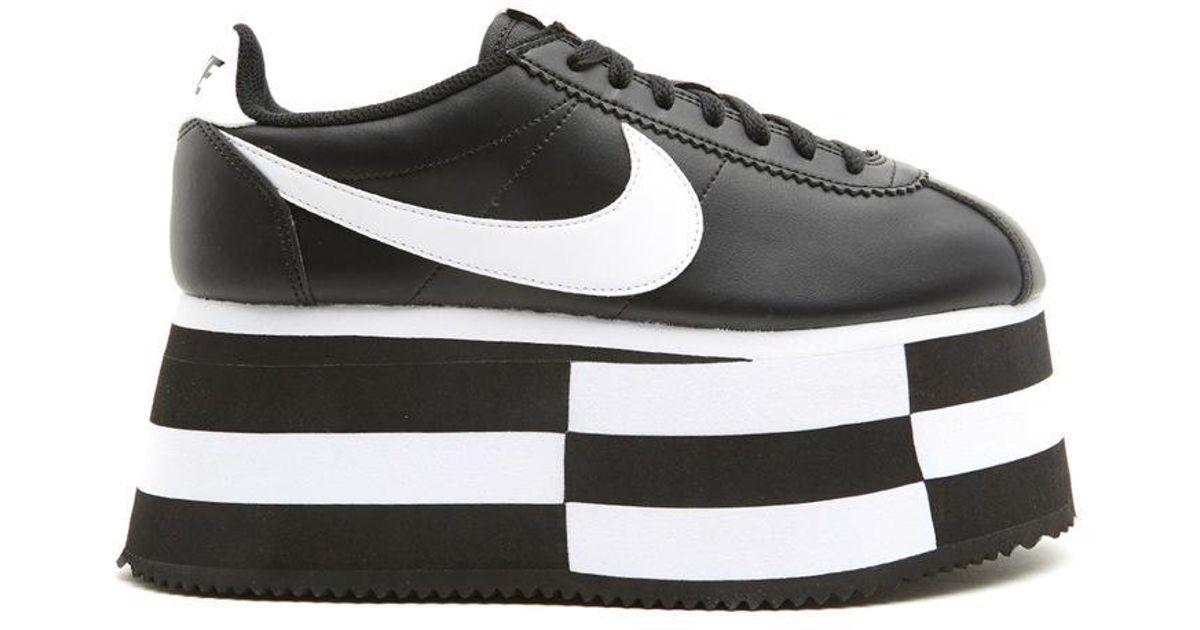 new style 02cf1 81dbb Comme des Garçons Black X Nike Cortez Wedge Platform Sneakers