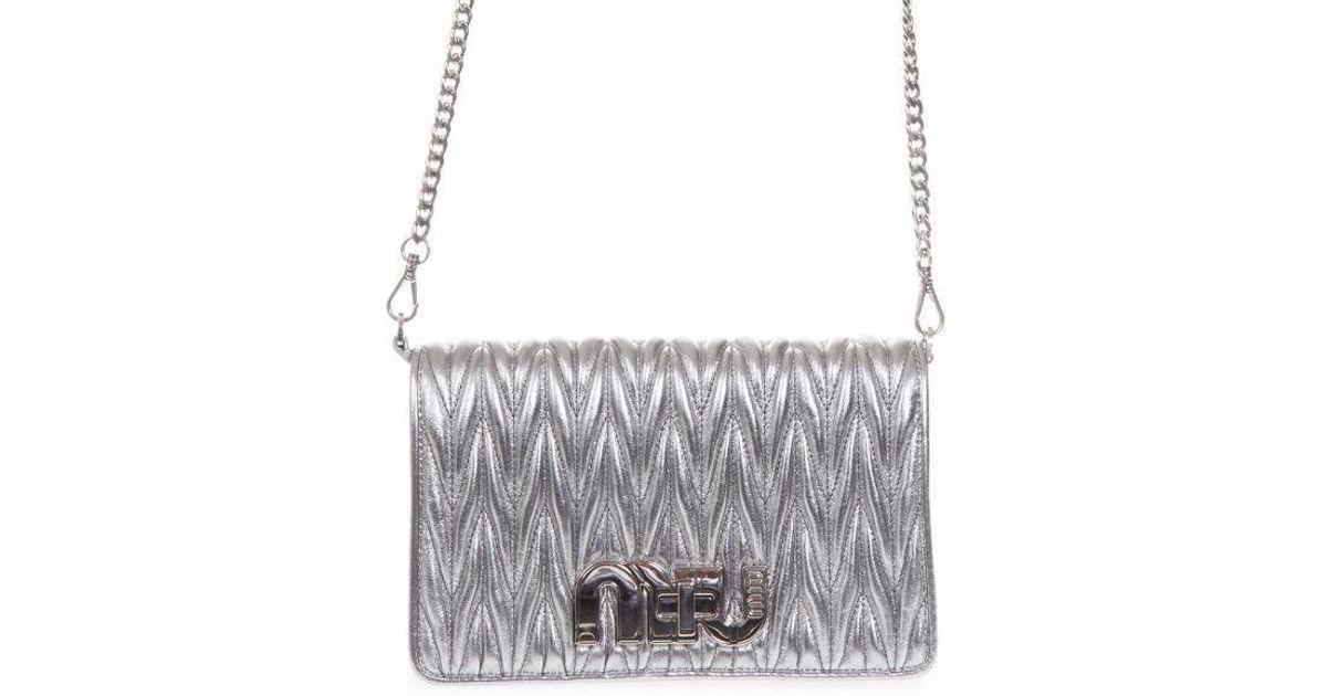 Lyst - Miu Miu Délice Miu Logo Plaque Crossbody Bag in Metallic ec75472465