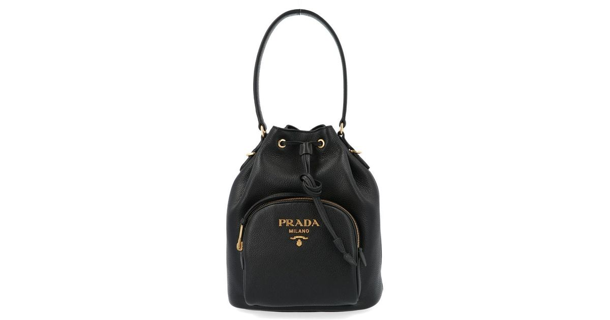 Prada Black Logo Drawstring Bucket Bag Lyst