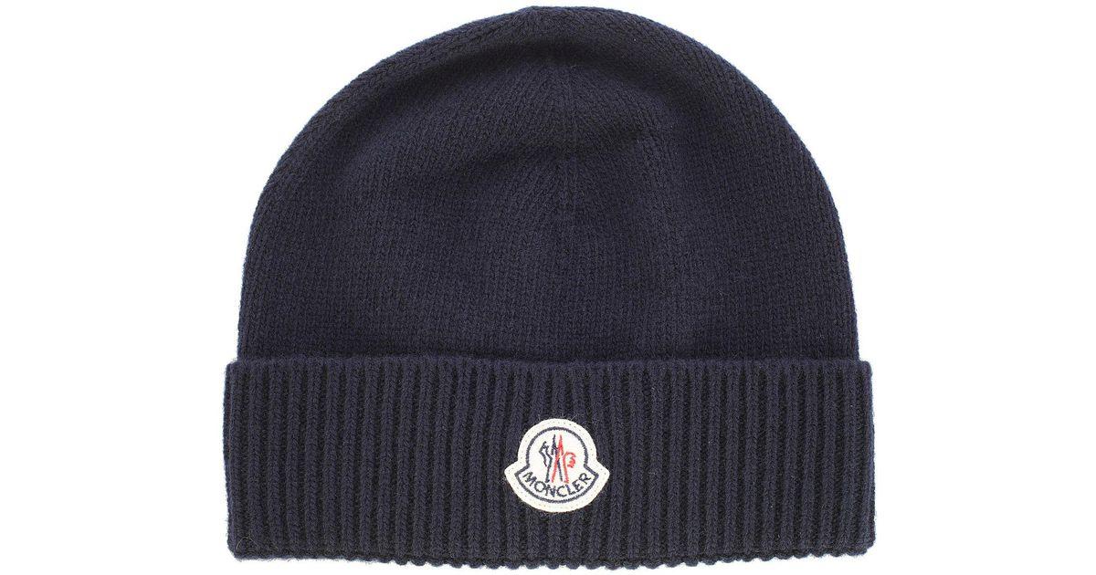 Lyst - Moncler Navy Wool Beanie in Blue for Men 1aa33d9d0b90