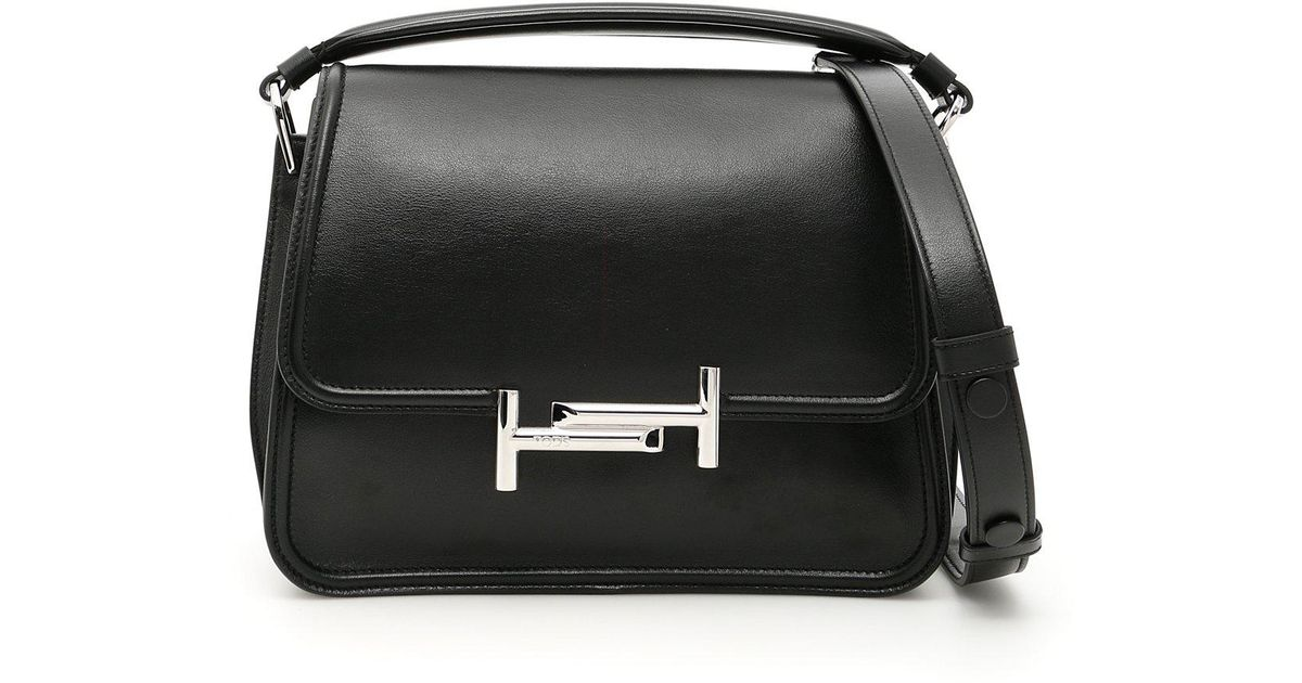 09761c4563 Tod's Double T Small Top Handle Bag in Black - Lyst