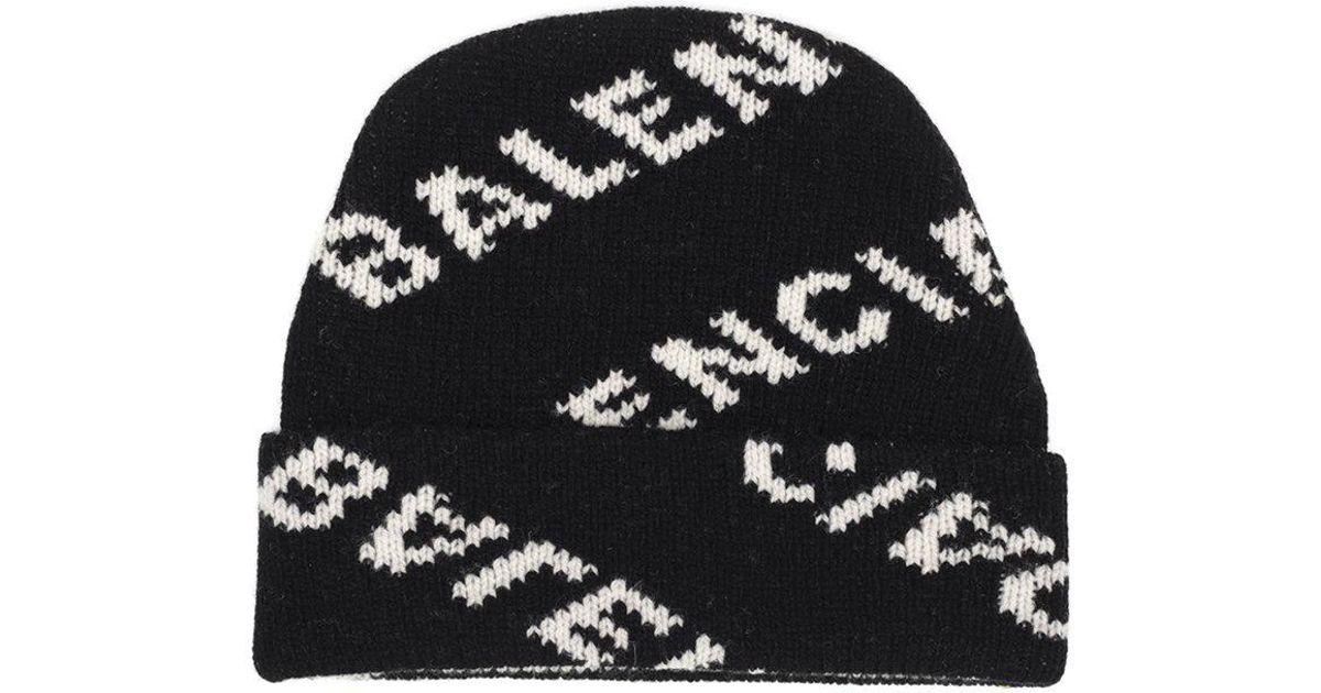 53d7f2cfe Balenciaga Black Logo Intarsia Wool-blend Beanie