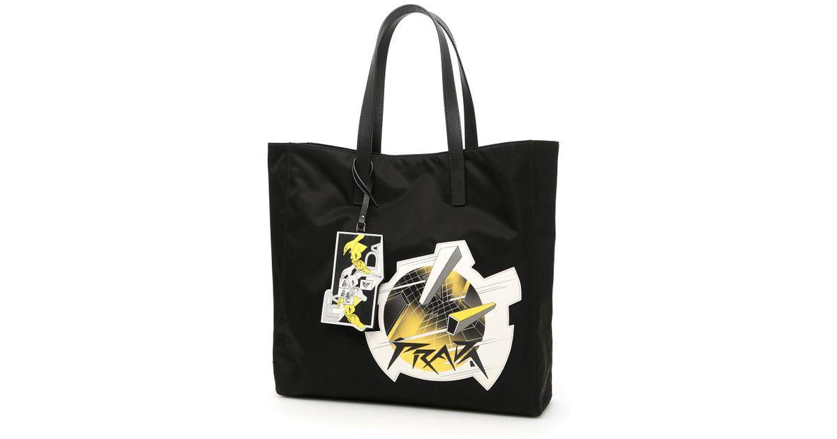4f4b0aee18561a Lyst - Prada Nylon Shopping Bag With Logo Patch in Black