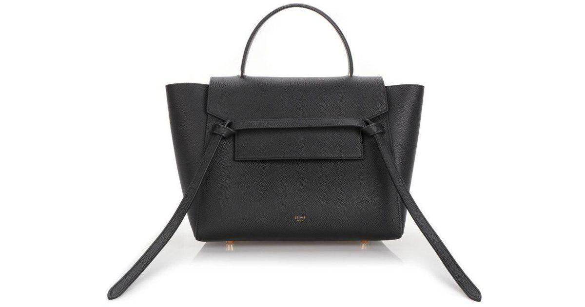 Lyst - Céline Mini Belt Grained Leather Tote in Black 60b2851fd05a0